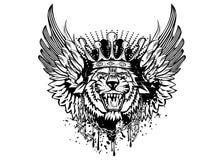 Tygrys głowa z skrzydłami Zdjęcia Royalty Free