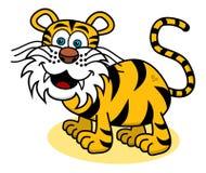 Tygrys ono uśmiecha się na profilu royalty ilustracja