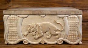 Tygrys rzeźbiący z drewna Obraz Stock