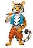 Tygrys szczotkuje jego zęby z ręcznikiem royalty ilustracja