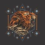 Tygrysa ogienia głowy ilustracja ilustracja wektor