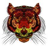 Tygrysa zentangle głowa Barwiący ręka rysujący projekt Fotografia Royalty Free