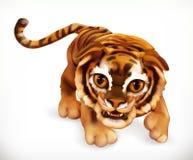 Tygrysi lisiątko zabawne zwierzę przygotowywa ikonę ilustracja wektor