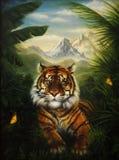 Tygrysi odpoczywać w dżungli, piękny szczegółowy obraz olejny dalej royalty ilustracja