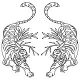 Tygrysi wektorowy tatuażu projekt na białym tle fotografia stock