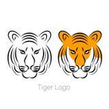 Tygrysia ikona odizolowywająca na białym tło loga szablonu tatuażu ilustracji