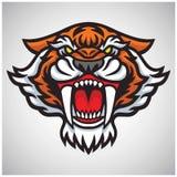 Tygrysia Saber zębu głowy logo wektoru ilustracja royalty ilustracja