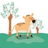 Tygrysia zwierzęca karykatura w lasu krajobrazu tle Obraz Stock