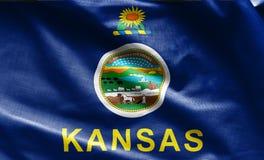 Tygtextur av den Kansas flaggan - flaggor från USA Royaltyfria Foton