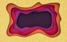 Tygtextur klippte abstrakt bakgrund med flödande klippta former framförande 3d stock illustrationer