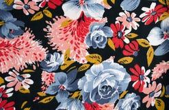 Tygtextur med blommor Arkivfoton