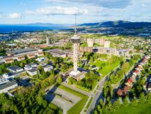 Tyholt TV Tower, Trondheim. Tyholt TV Tower aerial panoramic view in Trondheim. Trondheim is the third most populous municipality in Norway Royalty Free Stock Photography