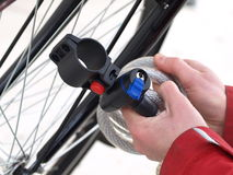Tying a bike, closeup, isolated Stock Photos