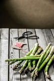 Tying bundles of fresh farm asparagus Stock Photos