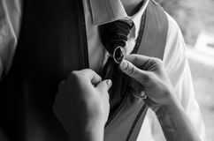 Tying the Groom's Tie Royalty Free Stock Image