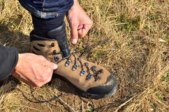 Tying a Hiking Boot Stock Images
