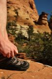 Tying Hiking Shoe in Zion National Park Royalty Free Stock Image