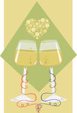 Tying the knot. Vector illustration of wine cups with a heart made of stylized bubbles above them. Eps10 Stock Images