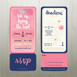 Tying the knot water colour wedding card template set Royalty Free Stock Photos