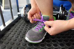 Tying Laces. Ready to Workout, Tying Laces Stock Image