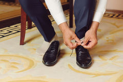 Tying Laces on Shoes Stock Image