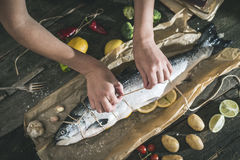 Tying a rope on samon fish. Tying a rope on fish for grilling. Baking paper Stock Photography