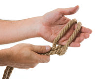 Tying ropes Royalty Free Stock Photos