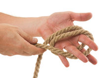 Tying ropes Stock Photo
