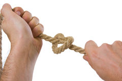 Tying ropes Stock Photo