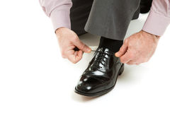 Tying Shoe Lace stock images