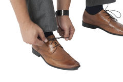 Tying Shoe Lace Royalty Free Stock Images