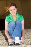 Tying shoes Stock Photo