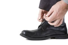 Tying shoes Royalty Free Stock Photos
