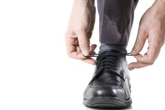 Tying shoes Stock Photography
