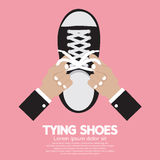Tying Shoes. On Pink Background Vector Illustration Stock Photo