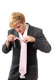 Tying a tie Royalty Free Stock Photos