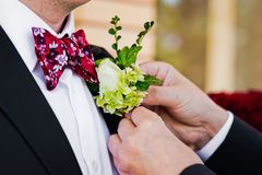 Tying wedding flower Stock Photos