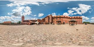 TYKOCIN, POLAND -  JULY 2019: full seamless spherical hdri panorama 360 degrees angle view near renovated medieval knight`s castl. E in equirectangular stock photo