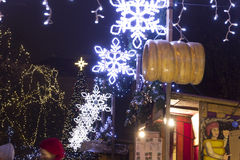 Tyl squares Christmas markets in Prague with people shopping there at night Royalty Free Stock Photo