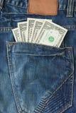 tylna cajgów pieniądze kieszeń Zdjęcie Royalty Free