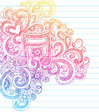 tylna doodle muzyki notatki szkoła szkicowa Obrazy Stock