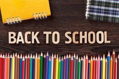 tylna koncepcji do szkoły Słowa pisać drewnianych listach Obraz Stock