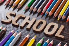 tylna koncepcji do szkoły Słowa pisać drewnianych listach Zdjęcie Royalty Free