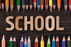 tylna koncepcji do szkoły Słowa pisać drewnianych listach Zdjęcia Royalty Free