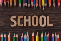 tylna koncepcji do szkoły Słowa pisać drewnianych listach Fotografia Royalty Free