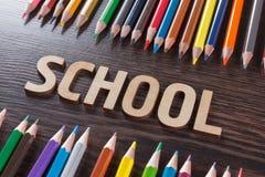 tylna koncepcji do szkoły Słowa pisać drewnianych listach Zdjęcie Stock
