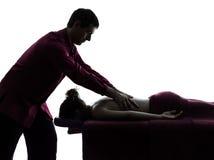 Tylna masaż terapii sylwetka obrazy royalty free