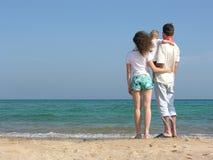 tylna plażowa trzy rodziny Zdjęcia Royalty Free