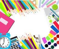tylna szkoły barwione biurowe dostawy i jabłko ilustracji