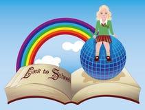 tylna szkoły Mała uczennica z kulą ziemską i starą książką Zdjęcie Stock